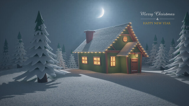 Stylized abstract advent background 3d illustration with decorative lights