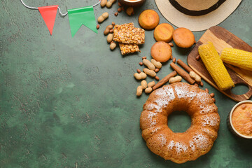 Obraz Traditional food for Festa Junina (June Festival) on color background - fototapety do salonu