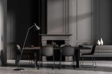 Obraz Minimalistic grey dining room interior with long table, black chairs and fireplace - fototapety do salonu