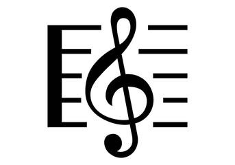 Obraz Clave de sol con pentagrama en negro sobre blanco.  Nota musical. Símbolo de la música en negro sobre fondo blanco - fototapety do salonu