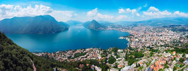 Lugano city aerial panoramic view - fototapety na wymiar