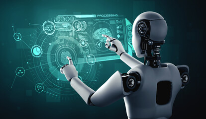 Obraz AI humanoid robot touching virtual hologram screen showing concept of AI brain and artificial intelligence thinking by machine learning process. 3D illustration. - fototapety do salonu