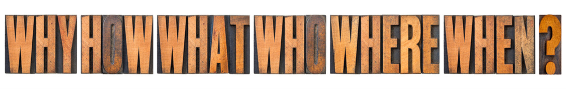 why, how, what, who, where and when questions  - brainstorming or decision making concept - a collage of isolated words in vintage letterpress wood type arranged in a wide banner