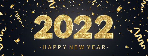 Fototapeta 2022 Happy New Year greeting card with golden confetti. Gold and black celebration design. Luxury party template. Merry Christmas poster with text and light number decor. Vector illustration obraz
