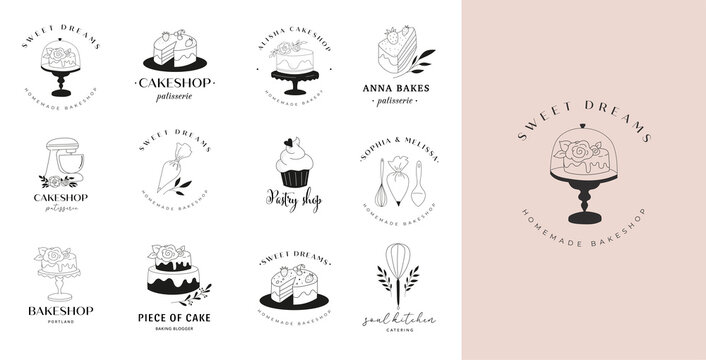 Simple and elegant homemade bakery logo collection. Hand drawn modern style logos, pastry and bread shop vector and label design