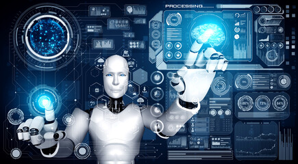 Obraz AI humanoid robot touching virtual hologram screen showing concept of big data analytic using artificial intelligence thinking by machine learning process. 3D illustration. - fototapety do salonu