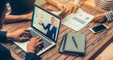 Obraz E-learning and Online Business Presentation Meeting Concept. Digital training course for people to do remote learning from anywhere. - fototapety do salonu