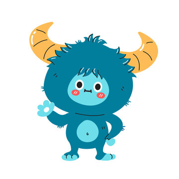 Cute funny yeti monster character. Vector hand drawn cartoon kawaii character illustration icon. Isolated on white background. Yeti, Bigfoot baby cartoon character concept