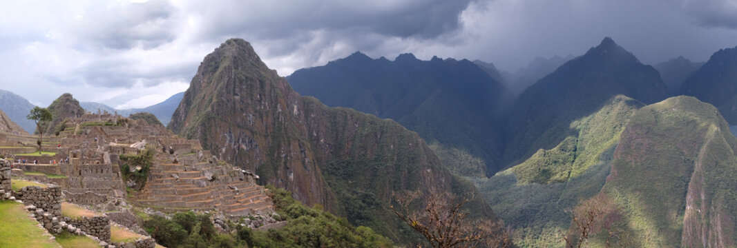 Panorama of the Lost City of the Incas, Machu Picchu, with a Storm Approaching
