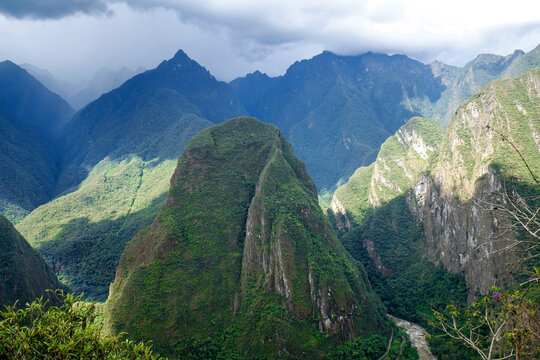 Andes Mountains in Peru above the Urubamba River near Machu Picchu as a storm approaches