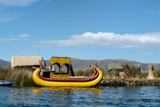 Traditional Uros Indian Reed Boat on Lake Titicaca