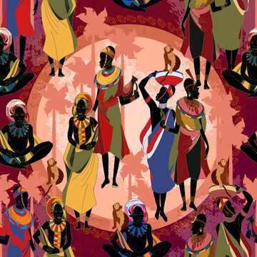 Beautiful black females. African women in national clothes horizontal seamless pattern. People of South Africa. Ethnic art. Tradition and culture