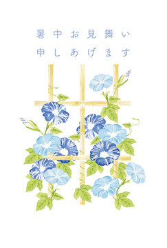 竹棚のあさがお 水彩イラスト