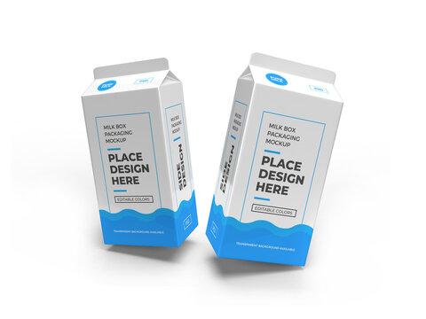 Milk Box Packaging 3D Illustration Mockup Scene
