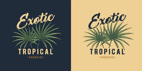 Exotic tropical plant for t-shirt print. Hawaii summer surfing. Palm for tropic surf design - fototapety na wymiar