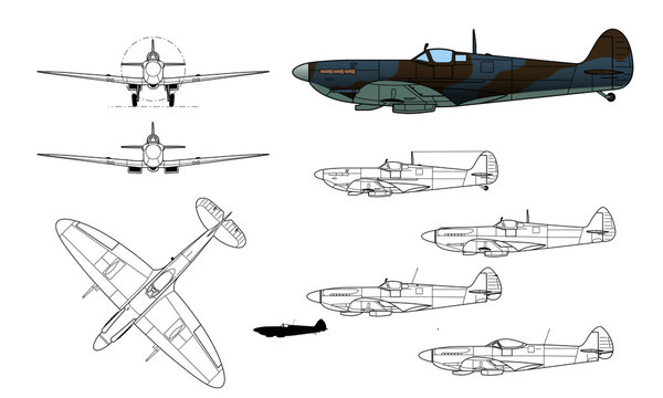 Supermarine, Spitfire, WWII fighter aircraft. Vector illustration in black and white line drawing. Color side profile.
