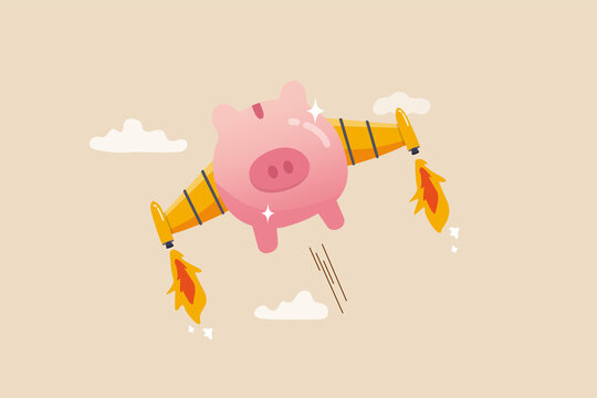 Boost financial earning or income, get rich fast or high growth investment, business opportunity or salary rising up concept, pink piggy bank with rocket booster wing flying fast high up in the sky.