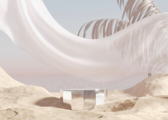 Fototapeta 3D podium display with ocean, sand beach. Pastel beige background with palm leaf. Cosmetic, beauty product promotion mockup. Nature shadow, step pedestal. Summer Minimal banner 3D render illustration obraz
