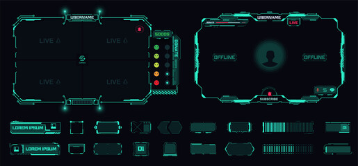Obraz Digital frame technology UI,UX Futuristic HUD, FUI, Virtual Interface. A design template for a set of frames , buttons, and overlay cursors for game streaming. Futuristic info boxes layout templates. - fototapety do salonu