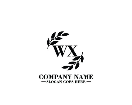 WX Initial handwriting logo, hand drawn template vector