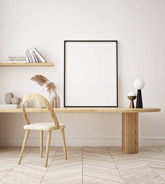 mock up poster frame in modern interior background, home office, Scandinavian style, 3D render, 3D illustration