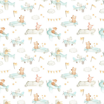 Cars and planes woodland baby nursery animals watercolor illustration pattern