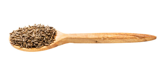 Fototapeta wooden spoon with caraway seeds isolated obraz