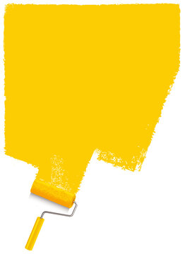 yellow paint strokes with paint roller