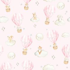 Fototapeta Hot air balloon  watercolor woodland animals  seamless pattern illustration obraz