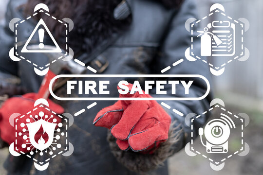 Industry concept of fire safety. Fire guard automation industrial alarm system.
