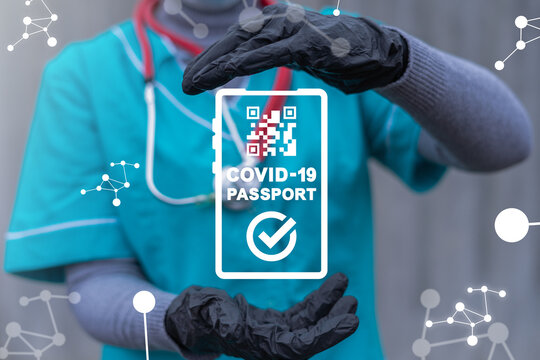 Medical concept of COVID-19 Immunity Passport App. Immune certificate for travel. Vaccination Mark Electronic Health Document. Mandatory Covid Test.