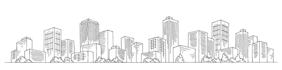 Fototapeta City graphic black white cityscape skyline sketch illustration vector  obraz
