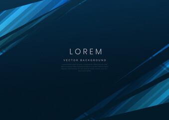 Obraz Abstract blue geometric diagonal overlay layer background. - fototapety do salonu