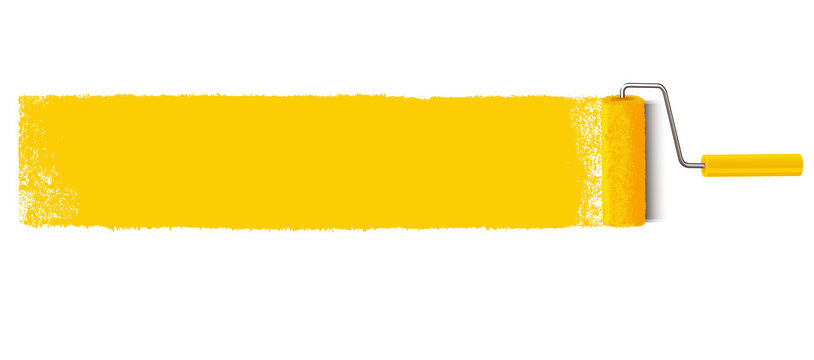 Yellow paint stroke with paint roller horizontal