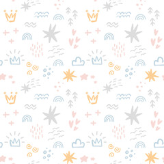Fototapeta Scandinavian Seamless pattern with colorful hand drawn organic shapes, clouds, crowns and other doodle elements. Vector trendy design perfect for prints, flyers, banners, fabric, invitations obraz