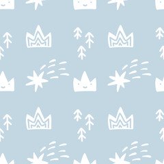 Fototapeta Hand drawn cute crown, fir trees and comets. Vector illustration seamless pattern. Simple repeated texture with scandinavian elements. Template for baby boy textile and wrapping paper obraz