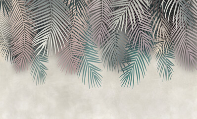 Obraz Palm leaves, palm branches, abstract drawing, tropical leaves. - fototapety do salonu