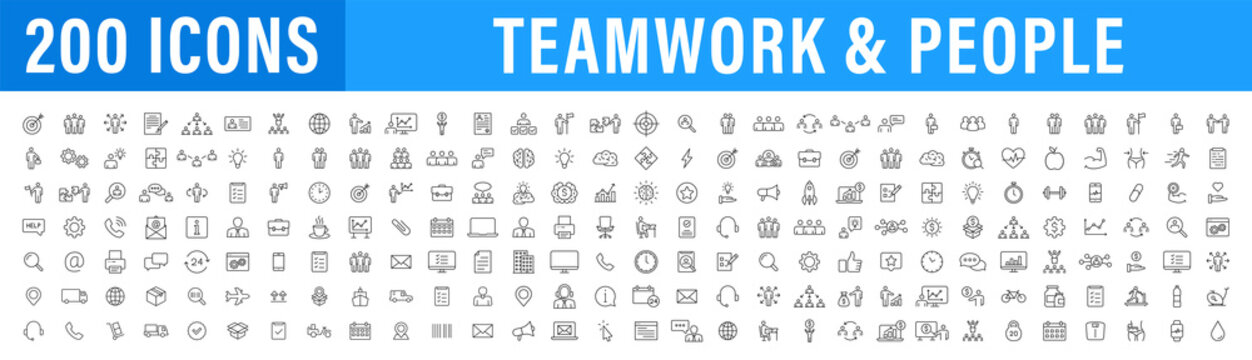 Set of 200 Teamwork web icons in line style. Team Work, people, support, business. Vector illustration.