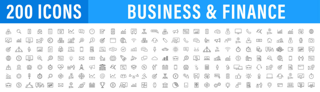 Set of 200 Business icons. Business and Finance web icons in line style. Money, bank, contact, infographic. Icon collection. Vector illustration.