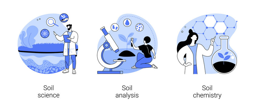 Soil properties abstract concept vector illustrations.