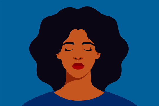 Sad black woman with closed eyes on a blue background. Portrait of weeping girl emotions grief. Unhappy African American female feels depression. Mental health concept. Vector illustration
