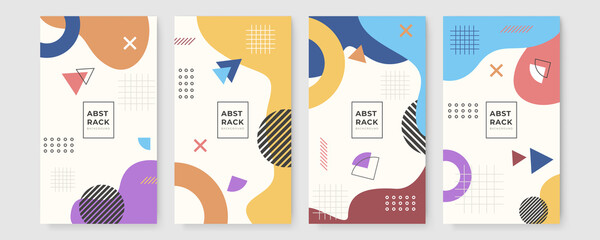 Obraz Set of abstract creative Memphis geometric universal artistic templates background. Good for poster, card, invitation, flyer, cover, banner, placard, brochure and other graphic design - fototapety do salonu