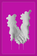 Human palms dipped in color paint. Painted hands. Liquid drips off fingers. Gesture. Contemporary...