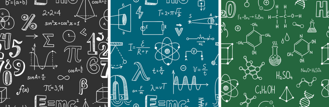 Seamless pattern with school subjects - math, physics, chemistry. Blackboard inscribed with scientific formulas. Back to school background set. Chalk doodle style. Vector illustration