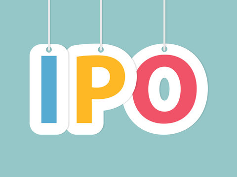 IPO (Initial Public Offering) made with colorful hanging letters- vector illustration