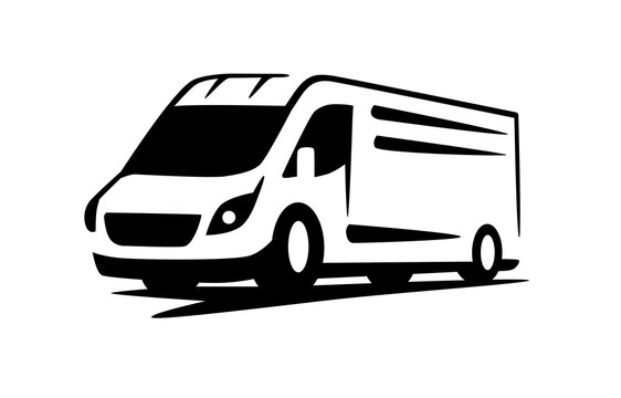vector van delivery minivan for fast delivery logo