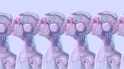Fototapeta Robots, futuristic art, imagination future science and ai concept idea, surreal artwork ,3d illustration , conceptual painting  obraz