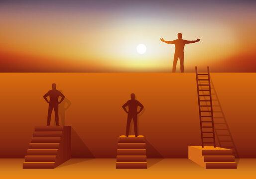 Concept de la compétence et de l'intelligence avec deux hommes face à un mur et un autre qui a trouver la solution pour passer l'obstacle.
