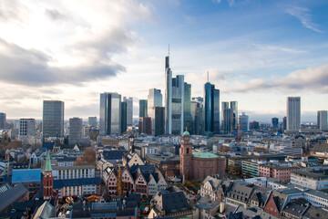 Obraz View over the city and skyline of Frankfurt - fototapety do salonu