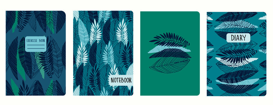 Set of cover page templates with tropical leaves. Based on seamless patterns. Headers isolated and replaceable. Perfect for notebooks, notepads, diaries, etc